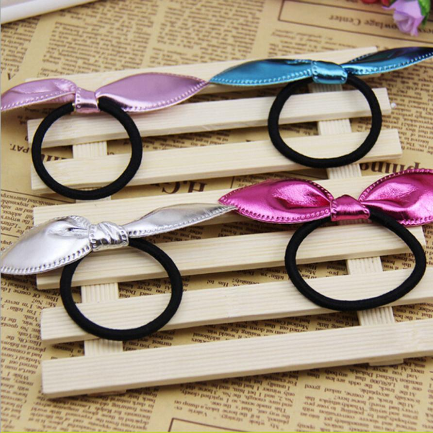 4pcs Cute Single Sequin Rabbit Ears Rubber Band Baby Girl Hair Accessories Bands Hair Elastic Accessories