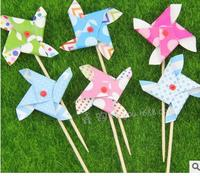 6pcs/lot Colorful Windmill Cupcake Wrappers Cake Toppers Set for Kids Birthday Party Decoration Lovely Cake Accessory