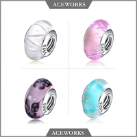 Aceworks Wholesale New Product 925 Sterling Silver Murano Glass Charm Bead
