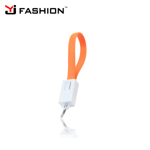 Cheap phone charger cable keychain charging cable for iPhone 8 x , 2 in 1 keyring usb charger for Samsung phone use