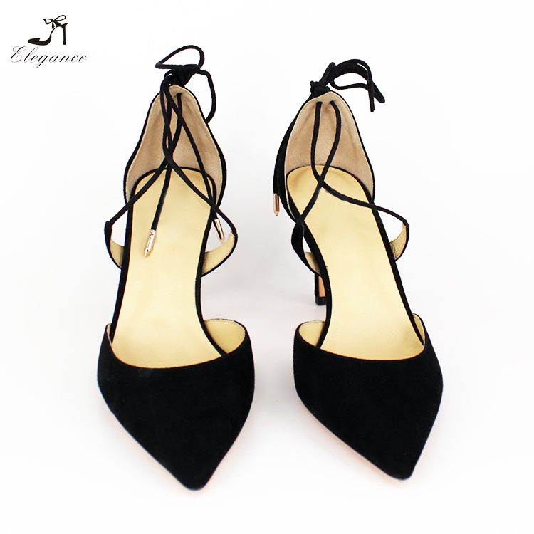 Shoes Stiletto Sandals Heel Leather Black Suede 2018 Closed Latest Toe Women Up High Ankle Sexy Pointed Lace ROCOwqazx