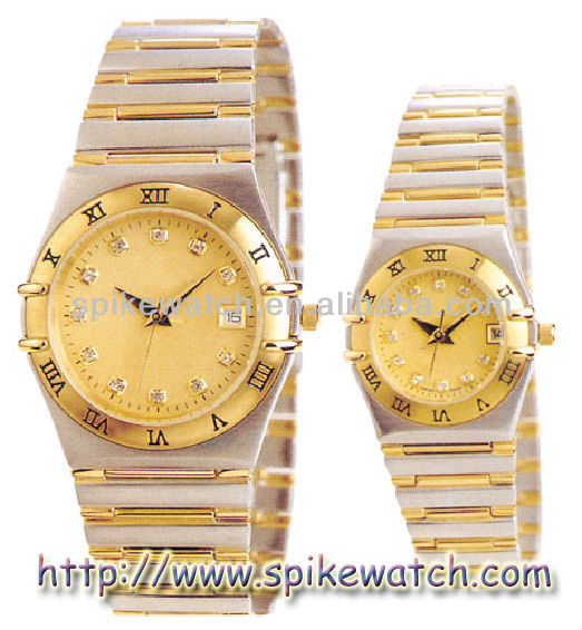 Alibaba Factory Fashion Couple Lover Wristwatches Gold Plated Wrist Watch