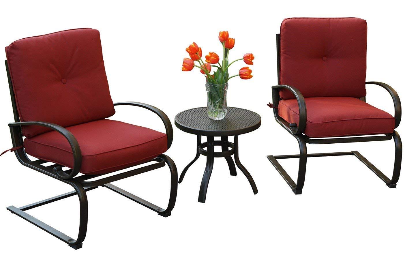 Kozyard Susan 3 PCs Patio Bistro Set Outdoor Furniture Patio, Garden Yard Cushioned Seats(Burgundy)