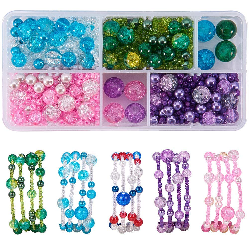 SUNNYCLUE 1400+ Pcs DIY 4 Strands 65mm Memory Wire Bracelet Making Starter Kit Jewelry Making Kit Include Crackle Glass Bead, Glass Seed Beads, Pearl Glass Beads and Memory Wire