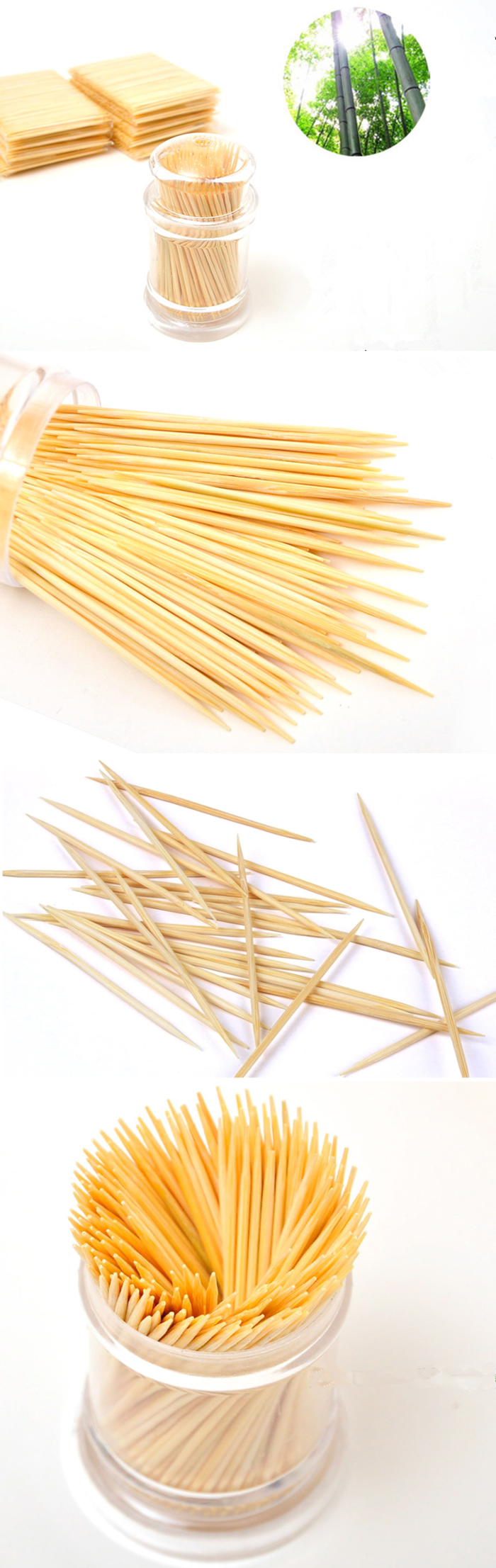 Different kinds of single packing bamboo wood skewers toothpicks for appetizers