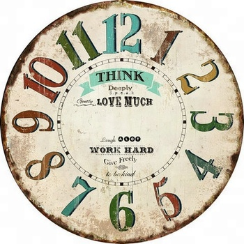Decorative Antique Mdf Wall Clock With Inspirational Quotes Relaxing