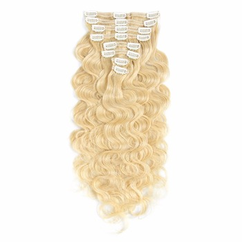 8a peruvian best price clip in on hair extension, real remy clip in human hair piece blonde curly weave