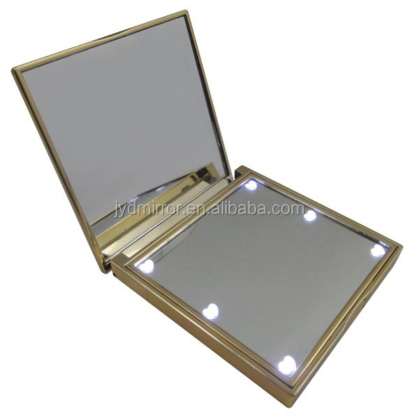 Small Size Square Makeup Mirror With 8 Pcs Bright Lights