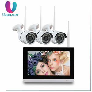 "Umelody 4CH 720P H.264 9"" touch screen monitor wireless home surveillance system"