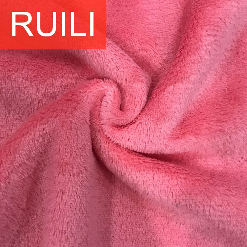 Two sides plain coral fleece blanket fabric