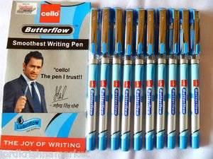 Cello butterflow smooth writing fine ball pen blue X 10 pen lot