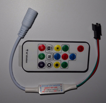 DC5-24V mini 14key RFLED pixel controller;supports WS2811//WS2812/TM1804/INK1003/ICS1903;2048 pixels controlled