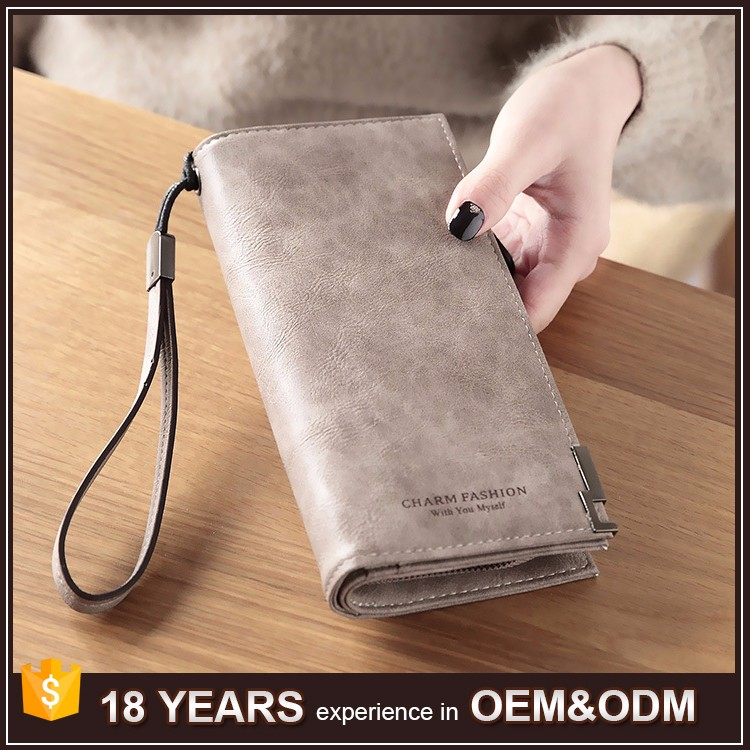2017 Leisure Long Design Women Leather Wallet with Metal Lining