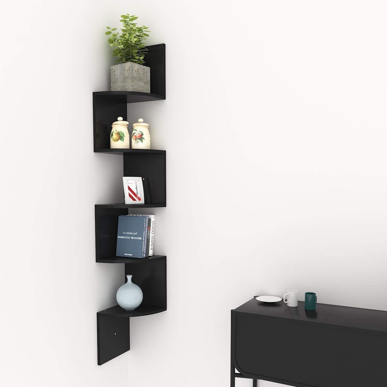 (US Stock)Hindom Home Decor 5 Tier Z Shape Corner Shelf,Wall Mount Unit Floating Wood Display Shelves Floating Storage Zig Zag Shelves (Black)