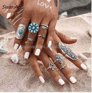 Fashion Turkish Silver Color Turquoise Stone Infinity Midi Vintage Ring Sets For Women