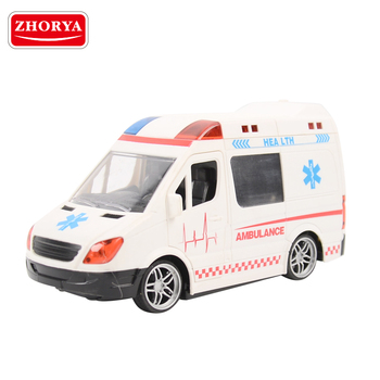 zhorya kids cheap plastic white large remote control open door car ambulance toy with flashing lights and music