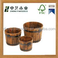 china factory FSC OEM handmade antique wooden garden flower pot barrels