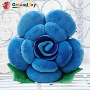 OEM custom soft stuffed plush blue rose flower cushion home decoration