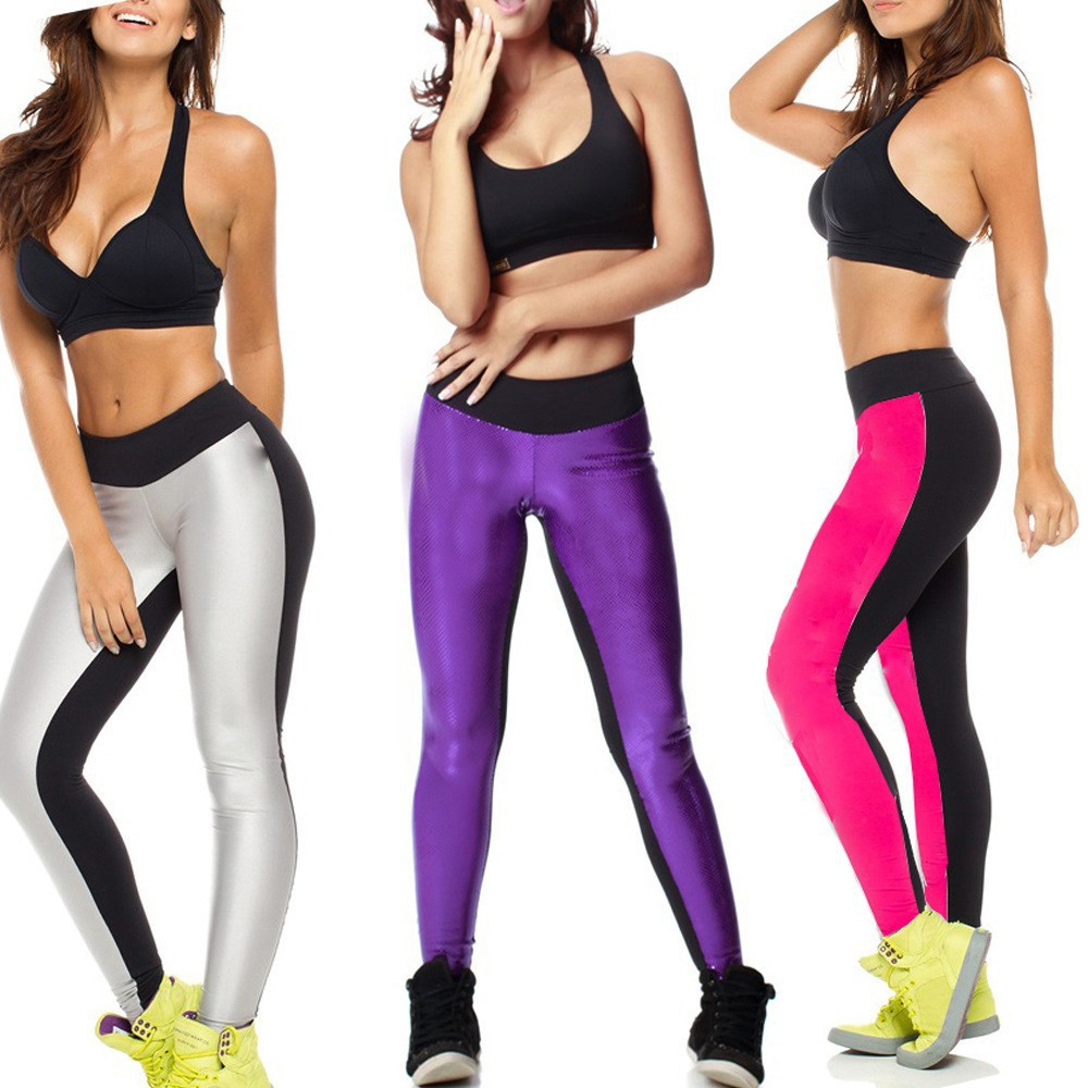 New Patchwork Gym Leggings Women Fitness Sport Leggings Workout Footless Leggings  Sexy Women Active Pants ee07db7a9