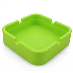 Hong Cheng(TM) Silicone Square Ashtray, Pack of 6,Colorfull Premium Silicone Rubber High Temperature Heat Resistant Square Design,Increase, Thickening, Hardness Higher of Ashtray (Green)