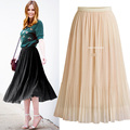 Europe and the United States high-waist skirt long pleated skirt 2018 spring and summer