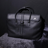 men genuine leather briefcase, 100%genuine cow leather, simple and unique, men's style