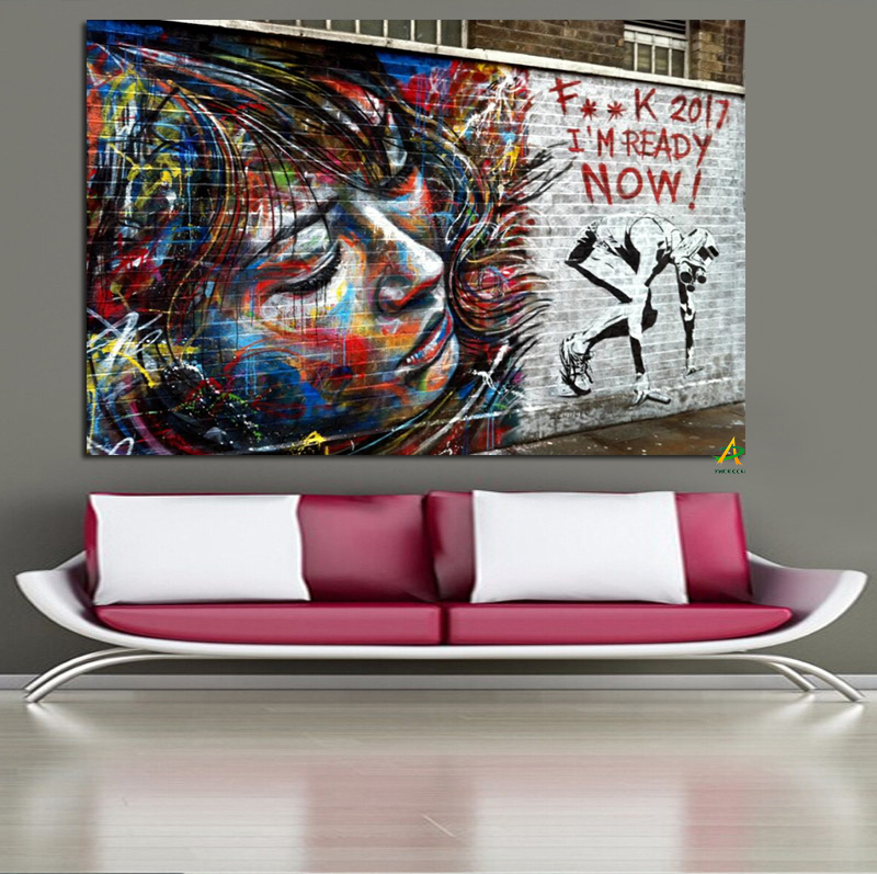 2017 I am Ready Wholesale Newest Design Banksy Art Wall Art Printing