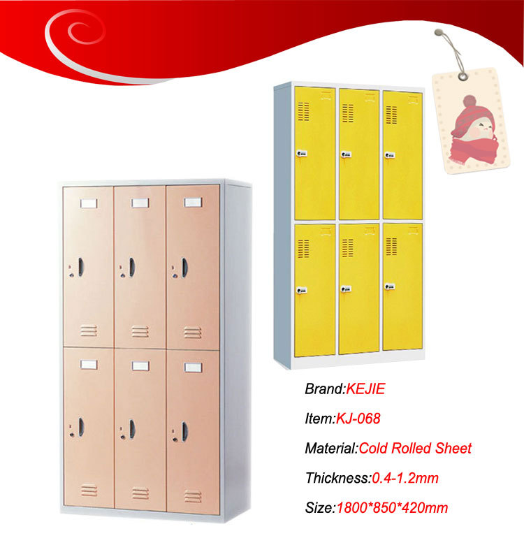 High Quality Gym Metal 6 Door Storage Cabinets Locker Bedroom Furniture Wardrobe Steel