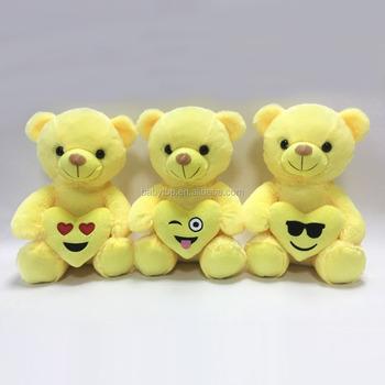 promotional popular oem plush stuffed yellow emoji teddy bear with