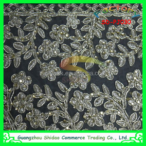 2016 african lace cord beaded embroidery design trim for Wedding Garment Factory