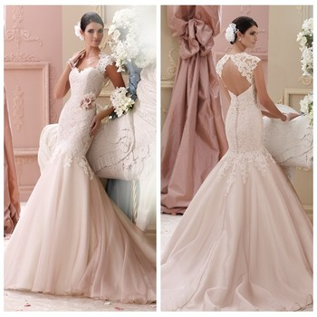 light pink lace real pictures of wedding dress patterns
