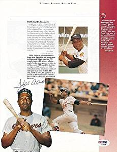 Aaron / Ford / Marichal Autographed Book Page Autograph - PSA/DNA Authentic Signature - Signed MLB Baseball Photos