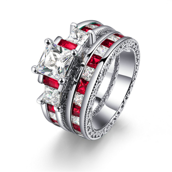 Fashion Luxury Diamond Engagement Ring Double Layers Copper Alloy