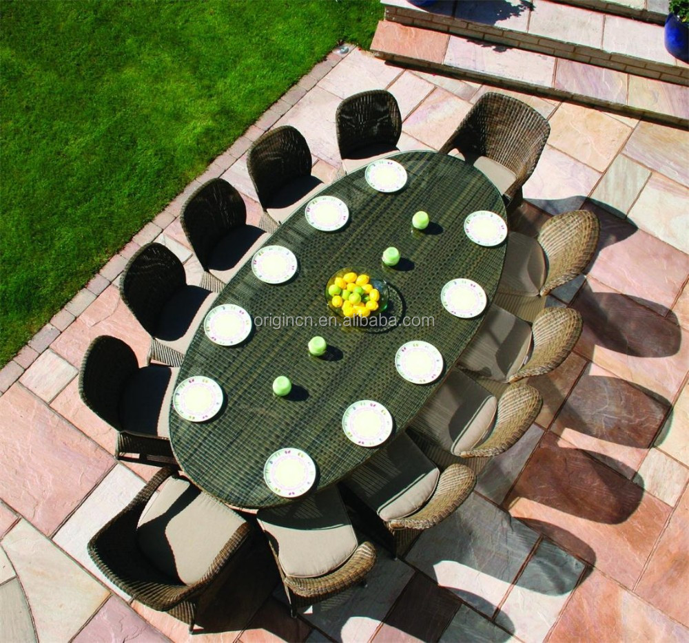 Brilliant 12 Seater Large Garden Catering Furniture Big Outdoor Oval Table And Rattan Restaurant Used Dining Chairs Buy Restaurant Used Dining Chairs Outdoor Ibusinesslaw Wood Chair Design Ideas Ibusinesslaworg