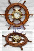 Decorative Porthole Clock In Shipwheel Design, Brass Porthole Clock, Wall Decor Item