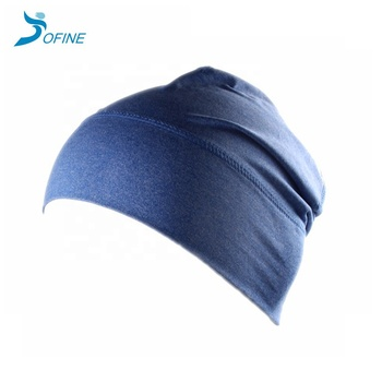 Hot sale Super Soft Cationic Dyeing plain fitted helmet liner sport  cycling biking Running beanie skull cap