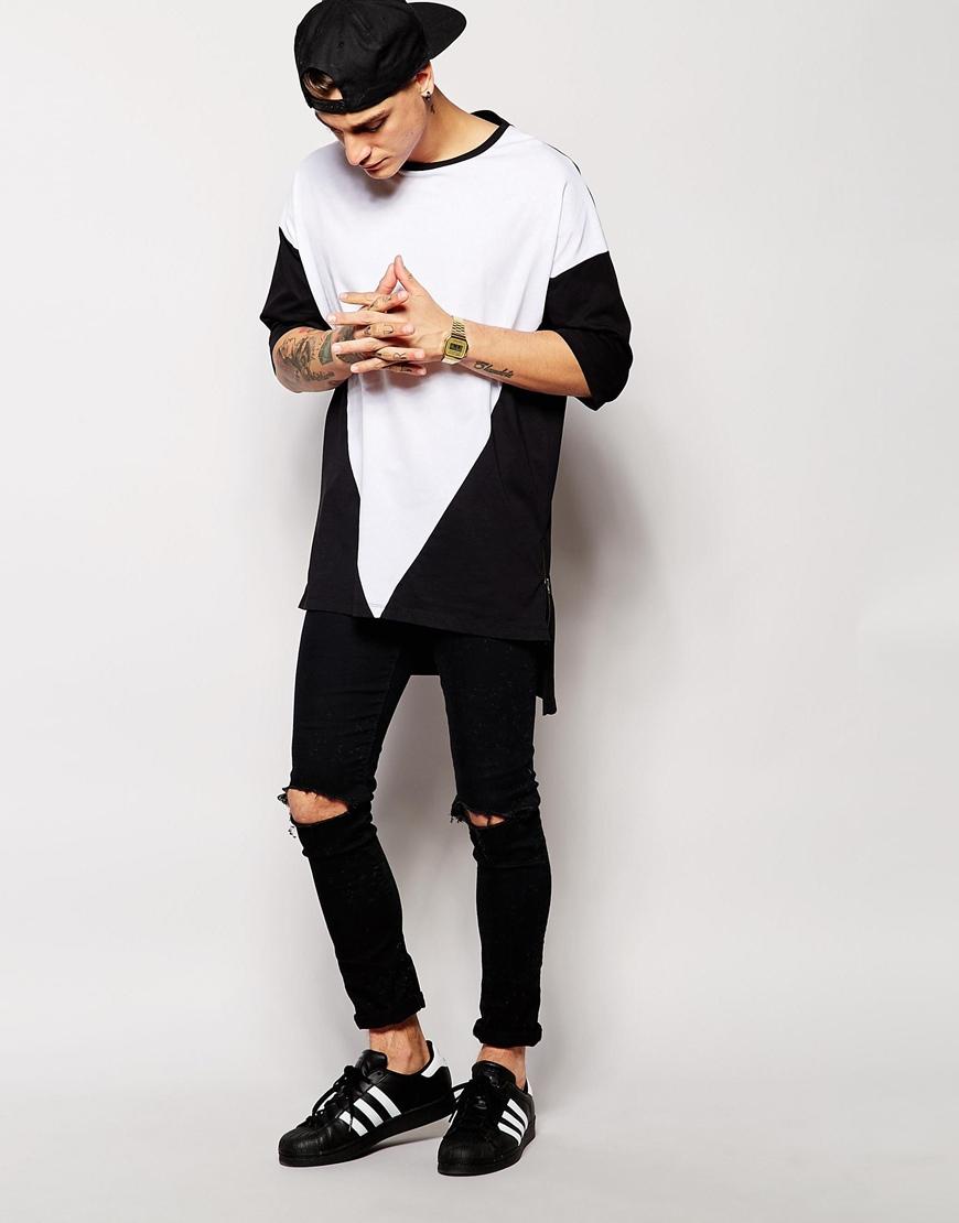 Fashion Cut And Sew T Shirt Loose Longline T Shirt Men