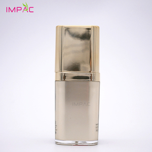 Fancy gold acrylic vacuum makeup base 15ml cosmetic pump bottle with twist up pump