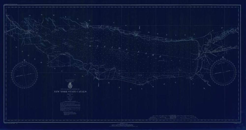 Vintography NOAA Blueprint Style 18 x 24 Nautical Chart New York State CANALS Lake Survey 39a