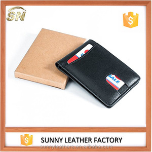 RFID blocking minimalist slim leather wallet with front pocket and ID window