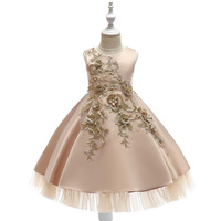 champagne flower girl dresses satin appliques fashion girl dresses for christmas party
