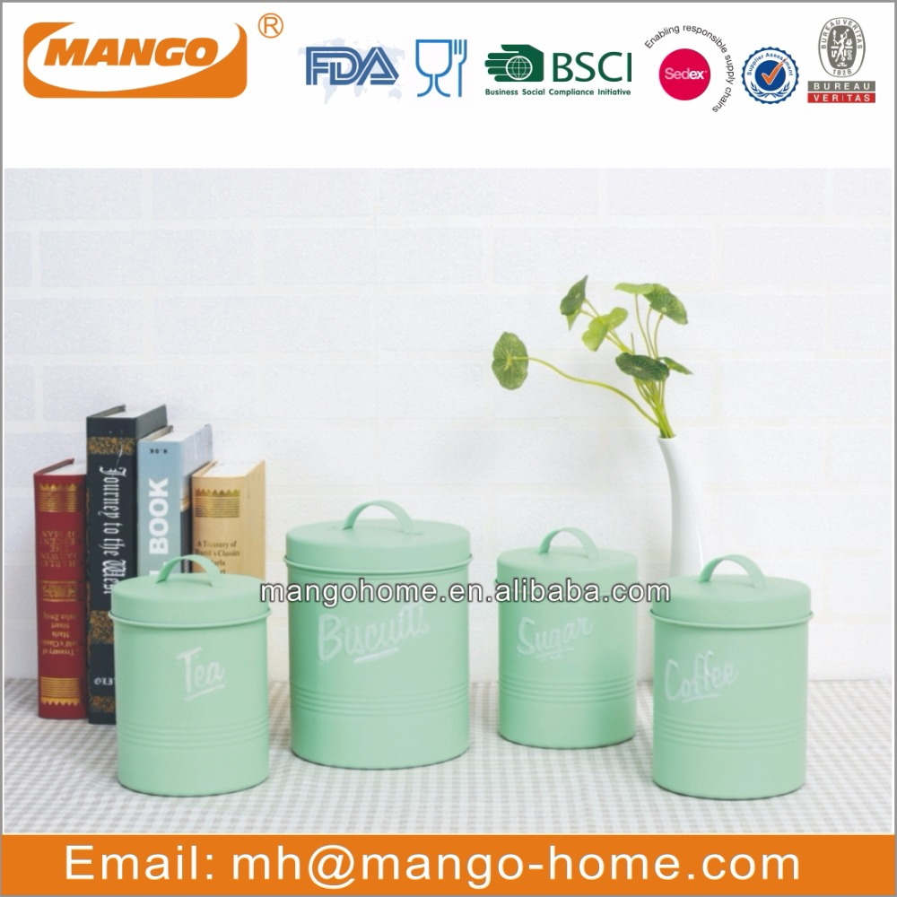 Metal  Foods Storage Canister With Window Metal Food Jar Airtight Seal Tea Coffee Canister Bamboo Lid