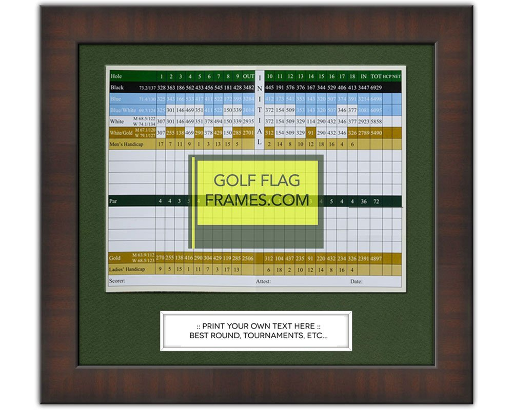 """11""""x10"""" Golf Scorecard Frame; Walnut Color Frame 7351, Green Mat (holds approx. 6""""x8"""" card; card not included"""