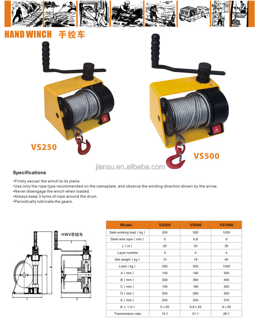 2000kg---hand winch/manual winch/cable winch