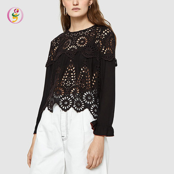 elegant loose women blouse hollow-out lace irregular tops styles sexy casual black round neck tops