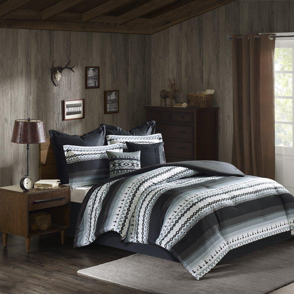 8 Piece Black Grey Southwest Comforter Queen Set, Native American Southwestern Bedding, Horizontal Tribal Stripe Geometric Motif Lodge, Indian Themed Pattern, Aztec Western Colors Off White Light Gray