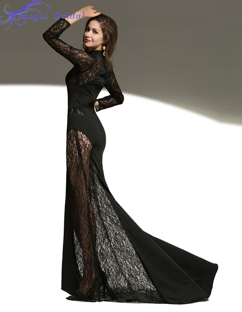 cb51efd0742 Buy Sexy See Through Black Lace Mermaid Evening Dress Long Lace Evening  Dress Elegant Long Sleeve Evening Dresses 2015 Formal Gown in Cheap Price  on ...