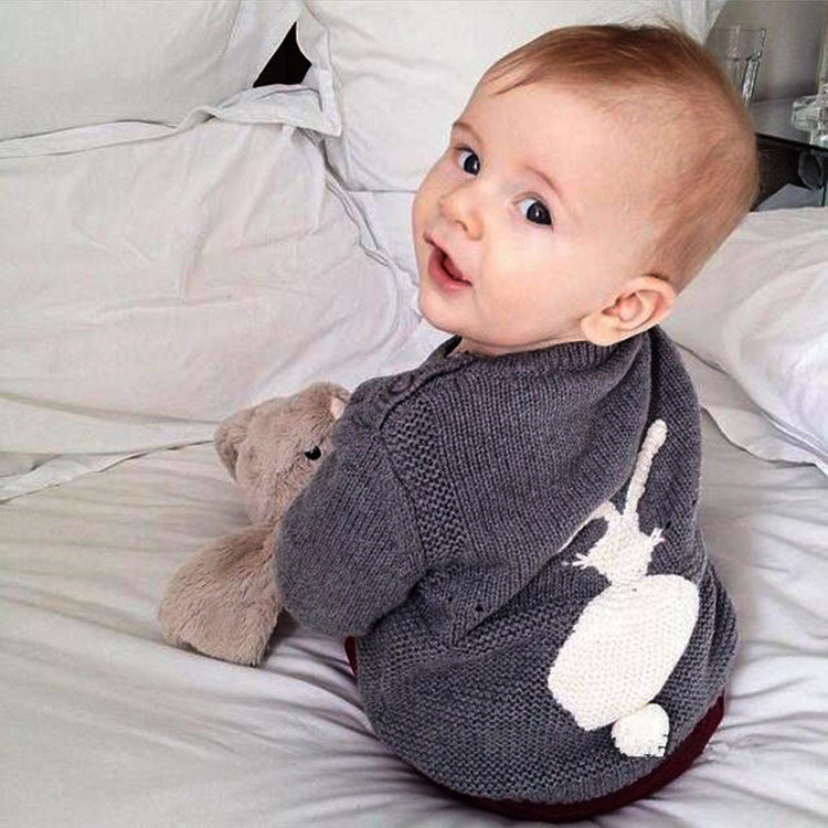 2017 autumn new born baby clothes anti-piling material cute rabbit pattern wool sweater design for baby