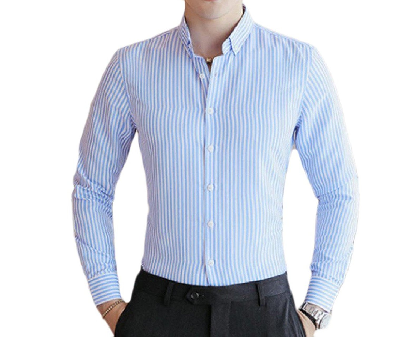 Get Quotations · Coolred-Men Lapel Striped Long Sleeve 1 Button Career  Button Down Shirts 11bee52ad