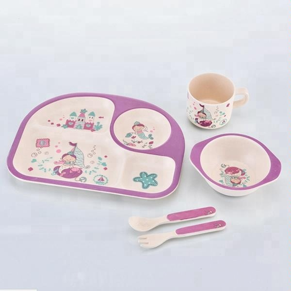 Bamboo Fiber <strong>Plates</strong> Set For <strong>Kids</strong> Reusable Baby Dinnerware Sets Compostable Bamboo Fibre Material Dinner Dishes